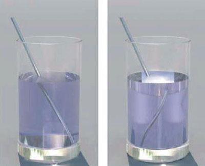 Figura 2. Al lado izquierdo se muestra la refracción positiva en un líquido natural, y el vaso derecho muestra la refracción negativa que produciría un metamaterial. (Crédito G. Dolling et al, 2006 Optical Society of America)