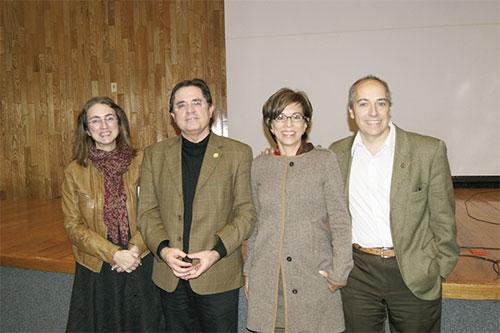 Itziar Aretxaga (Coordinadora de Astrofísica-INAOE), Enrique Provencio, Esperanza Carrasco (Investigadora de Astrofísica-INAOE), Alberto Carramiñana (Director General-INAOE)
