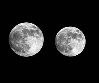 Comparación de dos lunas llenas en 2012, una cerca del apogeo (28 de noviembre) y la otra cerca del perigeo (5 de mayo). La diferencia en el tamaño aparente se debe a la diferencia en la distancia (unos 50 mil km) entre el perigeo y el apogeo. La distancia promedio a la Luna es de aproximadamente 385 mil km. Imagen tomada de http://apod.nasa.gov/apod/image/1211/supermicromoon_paduraru.jpg
