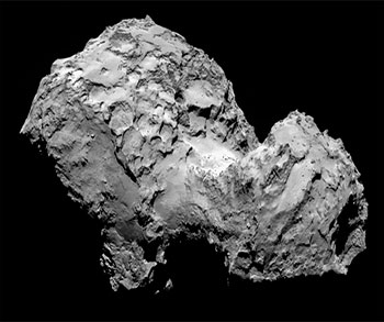 Imagen del cometa 67P/Churyumov-Gerasimenko obtenida el 3 de agosto, a 285 km de distancia, por la cámara llamada OSIRIS a bordo de Rosetta, tomada de http://www.nasa.gov/sites/default/files/comet_on_3_august_2014.png