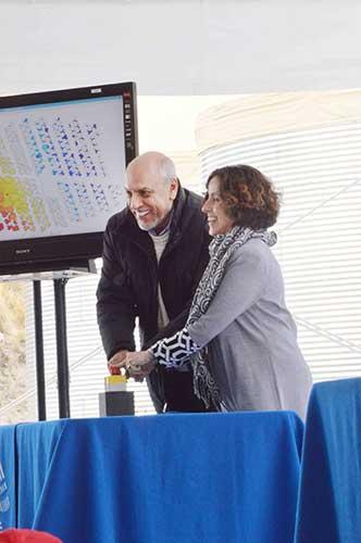 Los invitados especiales apretaron el botón de arranque de HAWC. · Fotos: José Ramón Valdés (INAOE)