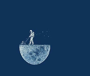 "Astronaut mowing the moon"", tomada de http://www.superbwallpapers.com/funny/astronaut- mowing-the-moon-31038/"