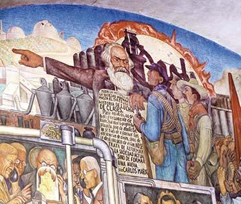 Mural de Diego Rivera, en el Palacio Nacional de la Ciudad de México, mostrando la Historia de México. El detalle muestra a Karl Marx. Imagen tomada de https://commons.wikimedia.org/wiki/File:Murales_Rivera_-_Treppenhaus_7_Marx.jpg