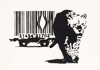 Barcode leopard, graffiti del artista Banksy