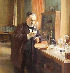 ouis Pasteur in his laboratory, pintura de Albert Edelfeldt