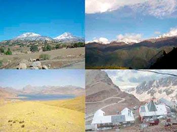 Sitios LAGO: Sierra Negra en México (Esquina superior izquierda), Pico Espejo en Venezuela (esquina superior derecha), Marcapomacocha en Perú (esquina inferior izquierda) y Chacaltaya en Bolivia (esquina inferior derecha) https://www.aps.org/units/fip/newsletters/201202/lago.cfm