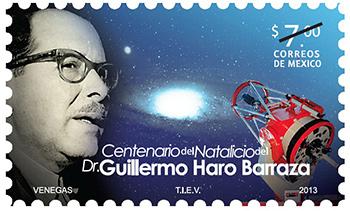 La imagen de la estampilla de Guillermo Haro la proporcionó Correos de México