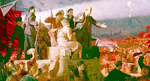 La llegada de Lenin a Rusia (1917), de Konstantín Aksiónov; tomada de https://mundo.sputnik- news.com/sociedad/201703131067561707-revoluciones-bolchevismo-rusia/