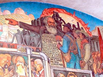 Karl Marx en mural de Diego Rivera en el Palacio Nacional de México