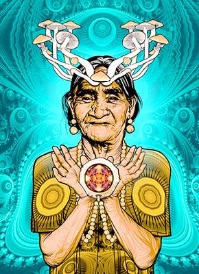 La famosa curandera mazateca María Sabina. Imagen tomada de http://pijamasurf.com/2014/08/increibles-retratos-de-famosos-psi- conautas-chamanes-y-exploradores-de-los-estados-alterados/