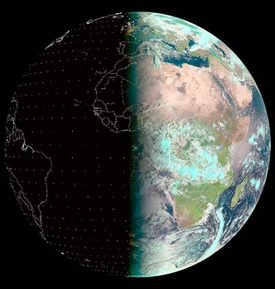 · Imagen: La Tierre durante el equinoccio de 2014. Tomado de European Organisation for the Exploitation of Meteorological Satellites (https://www.eumetsat.int/)