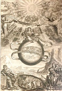 """Athanasius Kircher. Musurgia Universalis, Roma, 1650. """"Pitágoras señala la forja que le inspiró su teoría. Los herreros martillean el metal en el interior de una oreja, sobre cuya <extra- ña forma anatómica> —con martillo y yunque—, diserta larga- mente Athanasius Kircher. Para el neoplatónico Boecio, teórico de la música (s. V d. C.), la <musica instrumentalis> terrenal es sólo un reflejo de la <musica mundana>, la música de las esferas celestes, representada aquí por la esfera central. Ésta es, a su vez, un eco lejano de la música divina de los nueve coros de ángeles""""."""