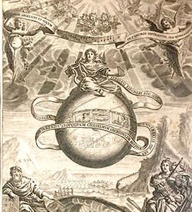 """Athanasius Kircher. Musurgia Universalis, Roma, 1650. """"Pitágoras señala la forja que le inspiró su teoría. Los herreros martillean el metal en el interior de una oreja, sobre cuya —con martillo y yunque—, diserta larga- mente Athanasius Kircher. Para el neoplatónico Boecio, teórico de la música (s. V d. C.), la terrenal es sólo un reflejo de la , la música de las esferas celestes, representada aquí por la esfera central. Ésta es, a su vez, un eco lejano de la música divina de los nueve coros de ángeles""""."""