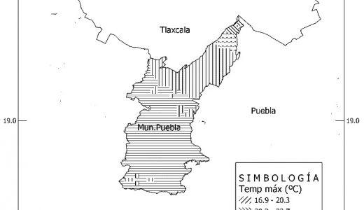 Figura 2. Temperatura máxima proyectada al mes de agosto para el municipio de Puebla, años 2075 – 2099.Modelo inglés (HADGEM2-ES), forzamiento RCP8.5