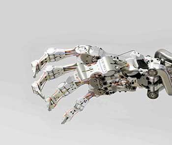 Mano robótica antropomórfica del Centro Aeroespacial de Alemania –DLR (Deutsches Zentrum für Luft und Raumfahrt), imagen tomada de: http://www.tomsguide.com/us/dlr-super-resi- lient-terminator-hand,news-9889.html