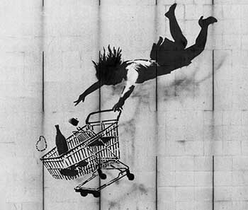 Obra de Banksy, titulada Shop until you drop