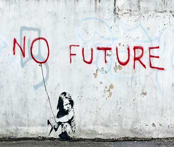 No future girl balloon, obra de Banksy