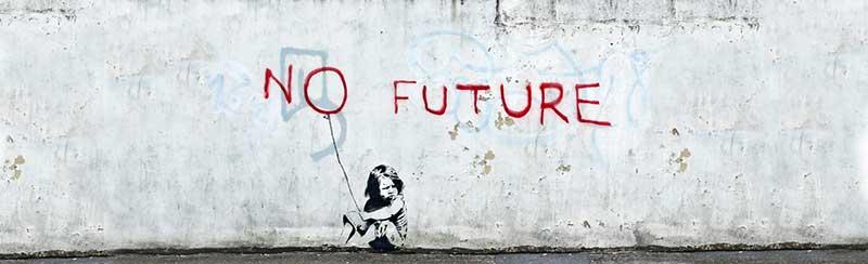 No future girl balloon, obra de Banksy
