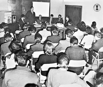 Ciclo de conferencias en el Salón Bertrand Russell. Archivo Histórico BUAP. Colección Vida Universitaria