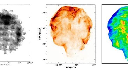 """Imágenes en rayos X del remanente de supernova llamado """"Cygnus Loop"""" obtenidas con tres telescopios. Izquierda: imagen obtenida con telescopios colo- cados en cohetes; centro: imagen obtenida por el satélite ROSAT con el instrumento """"High Resolution Imager""""; derecha: imagen obtenida por ROSAT con el instrumento """"Position Sensitive Proportional Counter"""". Imagen obtenida de http://imagine.gsfc.nasa.gov/Images/science/cygnus_loop_full.jpg"""