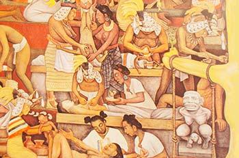 Detalle del mural El pueblo en demanda de salud, de Diego Rivera y David Alfaro Siqueiros, en el Hospital La Raza; imagen tomada de http://www.udg.mx/sites/default/files/080311_revista_tukari.pdf