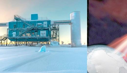 Observatorio de neutrinos IceCube ubicado en el Polo Sur.Representación artística de un blazar emitiendo radiación gamma y neutrinos en dirección a IceCube. Créditos: IceCube/NASA