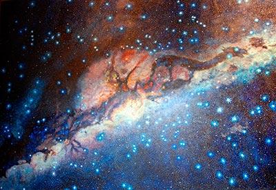 Representación artística de las constelaciones oscuras andinas ubicadas