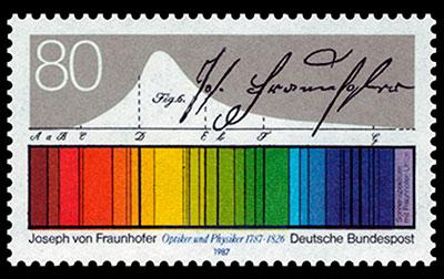 Timbre postal alusivo al 200 aniversario del nacimiento de Fraunhofer (Alemania, 1987).