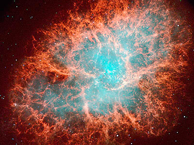 La nebulosa del cangrejo. Remanente de la explosión de una estrella en el año 1054. En su espectro se detecta la presencia de elementos pesados cuyo número atómico está más allá del Fierro.