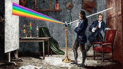 Figura 1. Pintura de Isaac Newton observando el espectro del sol a través de un prisma. http://cubacoopera.uccm.sld.cu