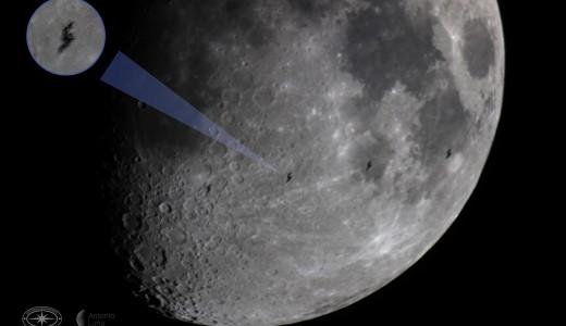 Tránsito de la Estación Espacial Internacional por la Luna. Crédito Juan Luna. Tomada de: https://www.facebook.com/nochedelasestrellasmx/posts/10158168120875900