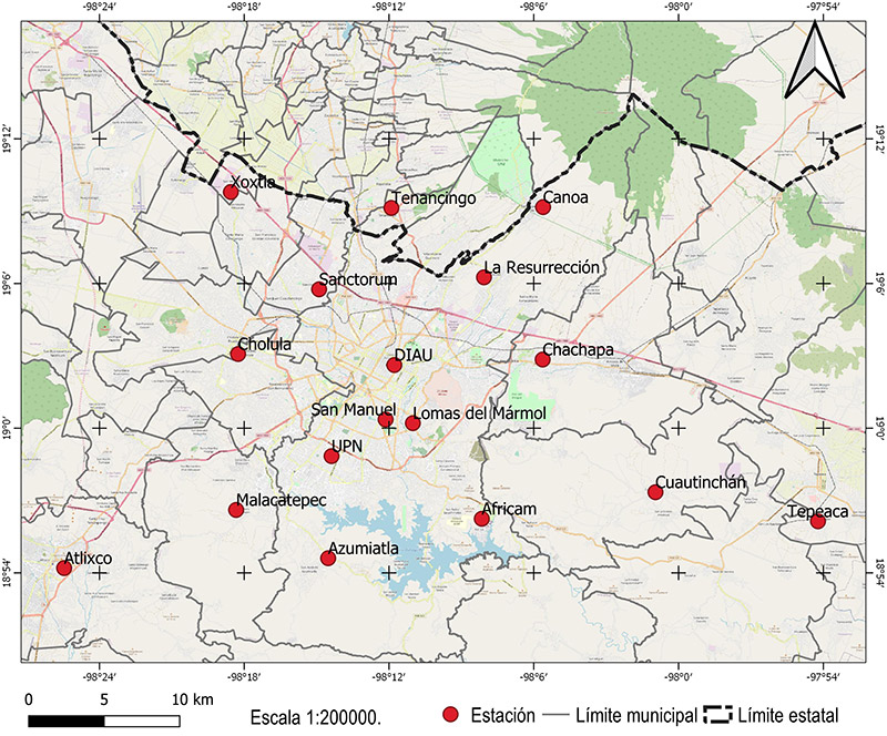 Ubicación de estaciones de la RAMM en la ZMPT. Por los autores.