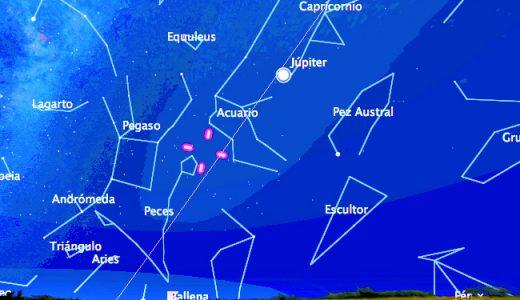 Mapa de localización de Palas (entre las cuatro líneas rojas) para el 11 de septiembre a las 22:30. Obtenido con el programa Stellarium