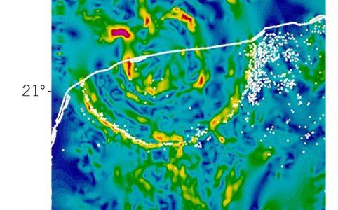 Mapa de gravedad que muestra las características topológicas del cráter Chicxulub. El rojo y el amarillo indican una alta grave- dad, mientras que el verde y el azul son mínimos de gravedad